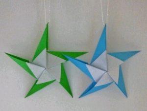クリスマスオーナメントを折り紙で!おしゃれな立体の星飾り②