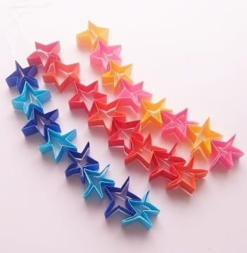 七夕飾りを折り紙で♪かわいい簡単な立体の星つづりの作り方