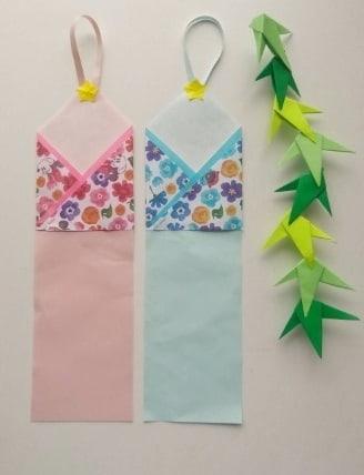 七夕飾りを折り紙で♪かわいい織姫と彦星の短冊の作り方