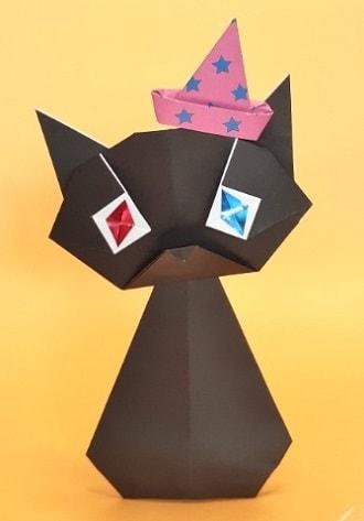 【折り紙 ハロウィーン】立体の黒猫の簡単な折り方・作り方