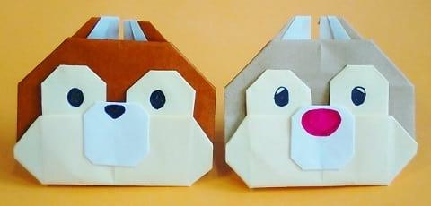 折り紙で作る「リス」(平面の可愛い簡単な折り方)(ディズニーキャラクター『チップ&デイル』)