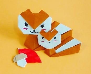 折り紙で作る「リス」(平面の可愛い簡単な折り方)(1枚で折れる)