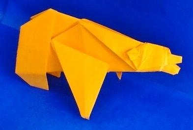 【折り紙で秋の動物】クマの折り方(立体・簡単・リアル)