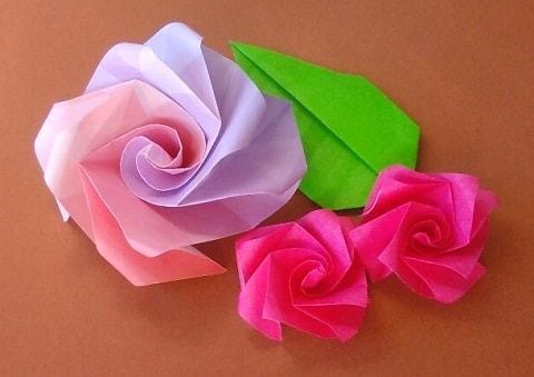【折り紙】秋の花(10月の花・11月の花)立体のバラの簡単な折り方