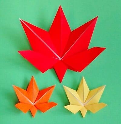 【折り紙】秋のもの(もみじ・平面)の簡単な折り方