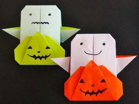 【折り紙】秋のもの(かぼちゃ・平面)の簡単な折り方【かわいいお化け付き】