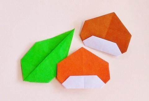 【折り紙】秋のもの(栗・平面)の簡単な折り方