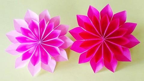 【折り紙】秋の花(9月の花・10月の花)立体のダリアの簡単な折り方