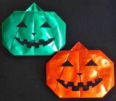 【折り紙】秋のもの(ジャック・オ・ランタン)(お化けかぼちゃ)の簡単な折り方