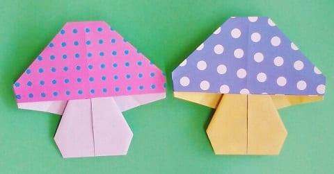 【折り紙】秋のもの(きのこ・平面)の簡単な折り方