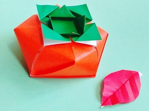 【折り紙】秋のもの(柿・立体)の簡単な折り方