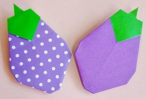 【折り紙】秋のもの(ナス・平面)の簡単な折り方