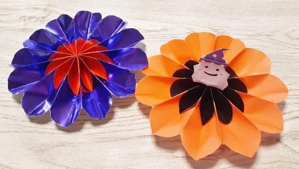 【折り紙 ハロウィーン】立体飾り(お花)の簡単な折り方・作り方