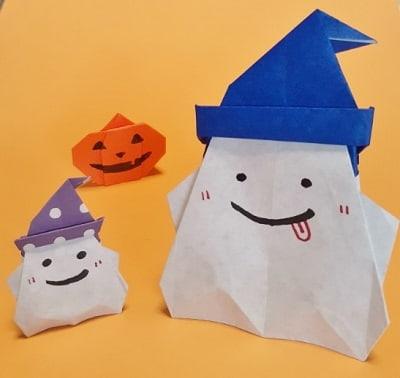 【折り紙 ハロウィーン】立体の帽子付きおばけの簡単な折り方・作り方