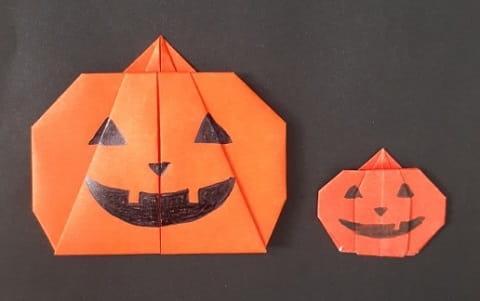 【ハロウィン 折り紙】リースのオーナメントの簡単な作り方(シンプルなおばけカボチャの飾り)