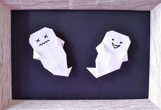 【ハロウィン 折り紙】リースのオーナメントの簡単な作り方(シンプルなおばけの飾り)