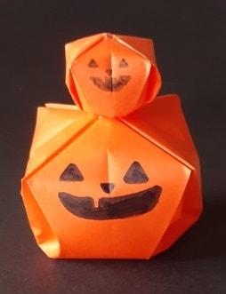 【折り紙 ハロウィーン】立体のジャックオーランタンの簡単な折り方・作り方(箸置きにも♪)
