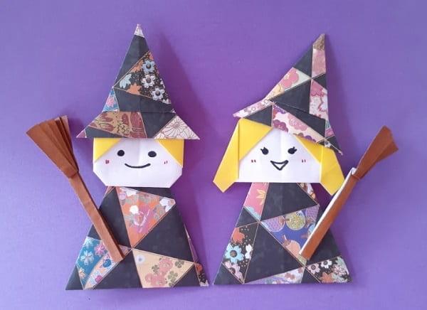 【ハロウィン 折り紙】リースのオーナメントの簡単な作り方(かわいい魔女・魔法使いの飾り)(帽子・ブーツ・箒)