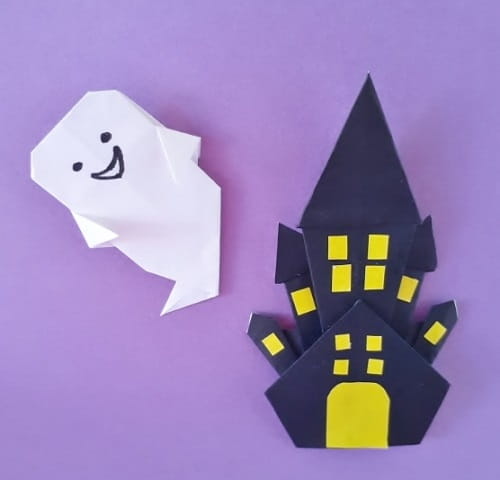 【ハロウィン 折り紙】リースのオーナメントの簡単な作り方(お城・家の飾り)