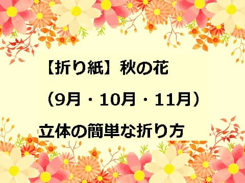 【折り紙】秋の花(9月・10月・11月)立体の簡単な折り方5選