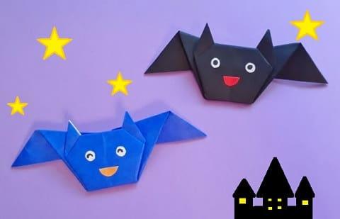 【ハロウィン 折り紙】リースのオーナメントの簡単な作り方(かわいいコウモリの飾り)