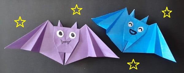 【折り紙 ハロウィーン】立体のコウモリの簡単な折り方・作り方