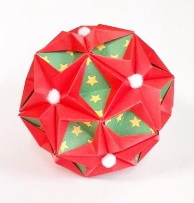 【折り紙のくす玉】星型の少し難しい作り方(30枚で作れる・おしゃれな丸型)