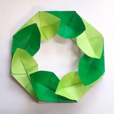 オリンピックを折り紙で!月桂樹の冠風 葉っぱのリースの簡単な作り方