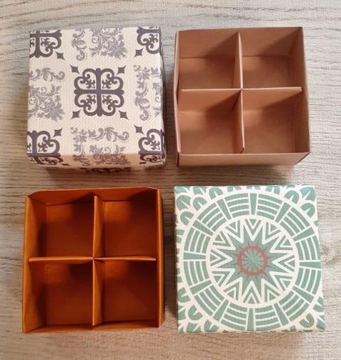 【折り紙】正方形の箱 かわいいふた付きの簡単な作り方(折り紙3枚で作る仕切り付きの小箱)