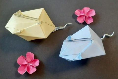 【折り紙 干支】子・鼠(ネズミ)の簡単な立体の折り方【コロンとした可愛いねずみ】
