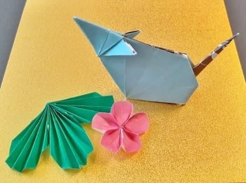 【折り紙 干支】子・鼠(ネズミ)の簡単な立体の折り方【シンプルでおシャレなねずみ】