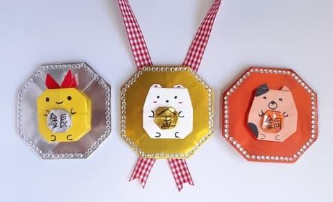 【折り紙】動物のメダルの簡単でかわいい折り方・作り方2