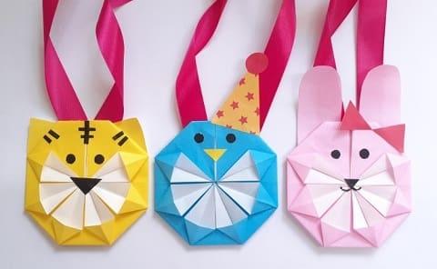 【折り紙】動物のメダルの簡単でかわいい折り方・作り方1