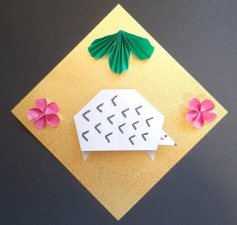 【折り紙】かわいいねずみの顔の簡単な折り方(ハリネズミ)