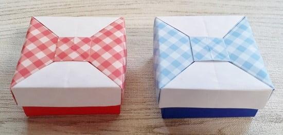 【折り紙】正方形の箱 かわいいふた付きの簡単な作り方(折り紙2枚で作るリボンの箱)