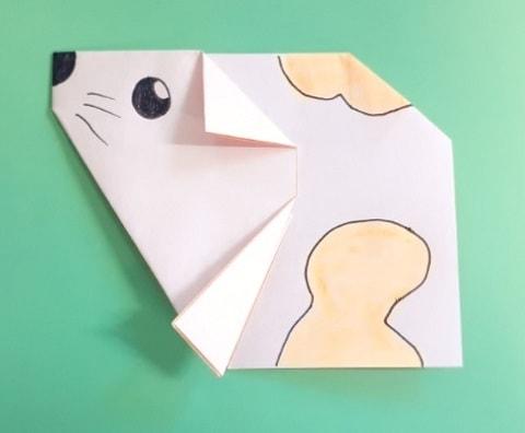 【折り紙】かわいいねずみの顔の簡単な折り方(ハムスター)