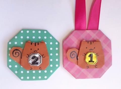【折り紙】動物のメダル(リス)の簡単でかわいい折り方・作り方
