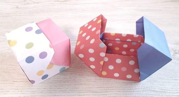 【折り紙】正方形の箱 かわいいふた付きの簡単な作り方(折り紙2枚で作る両開きの箱)