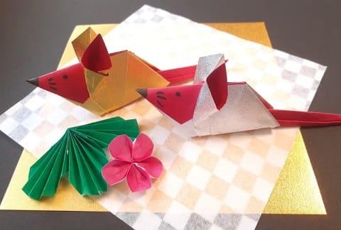 【折り紙 干支】子・鼠(ネズミ)の簡単な立体の折り方【2色のオシャレなねずみ】