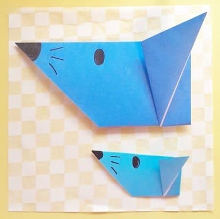 【折り紙】かわいいねずみの顔の簡単な折り方(横顔・5回で折れる)