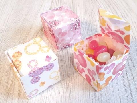 【折り紙】正方形の箱 かわいいふた付きの簡単な作り方(折り紙1枚で作る小さい箱)