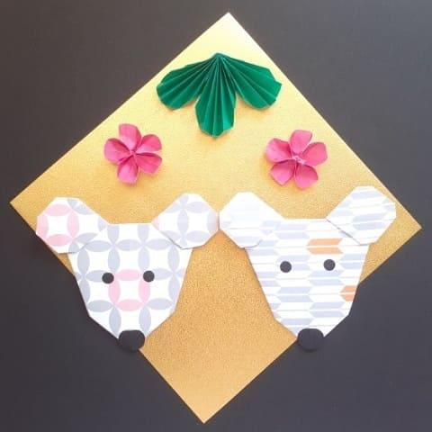 【折り紙】かわいいねずみの顔の簡単な折り方(シンプルなネズミ2)