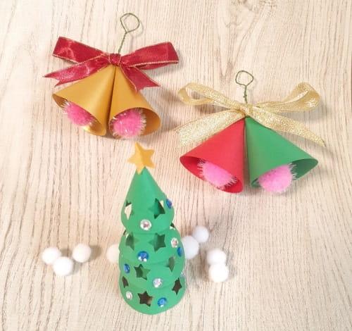 画用紙で立体クリスマスツリーと飾りの簡単な作り方4選
